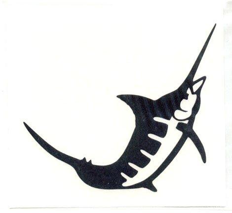 Marlin Single Jumping Vinyl Decal Left Facing Gold