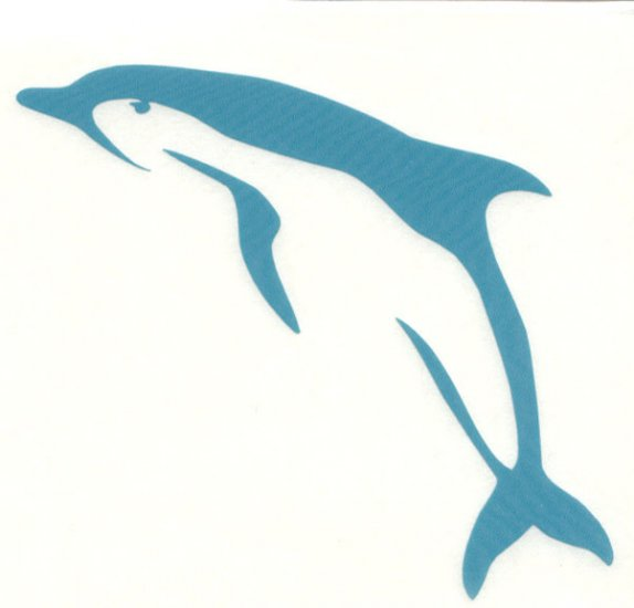 Porpoise Single Jumping Left Facing Vinyl Decal Teal