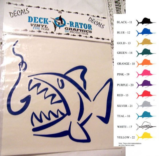 Single Jaws Left Facing Vinyl Decal Blue