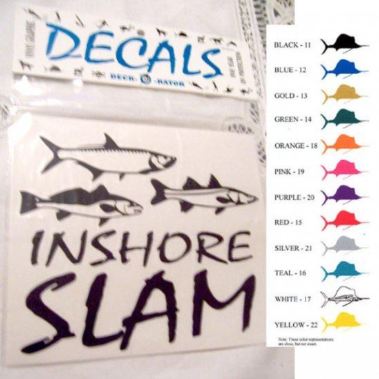 Single Right Facing Inshore Slam Vinyl Decal Silver
