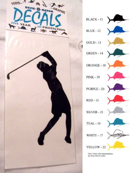 Female Golfer Vinyl Decal Gold Large