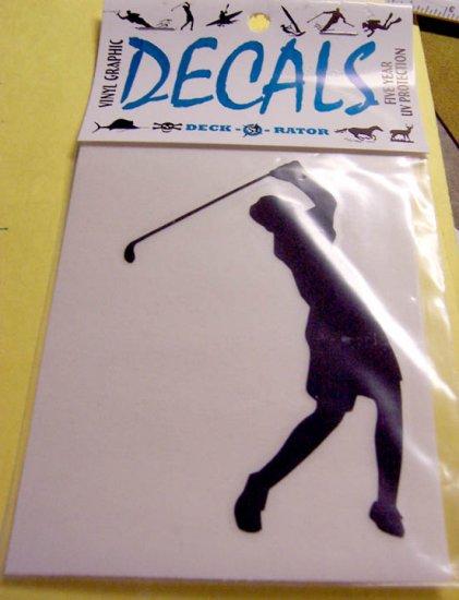 Female Golfer Vinyl Decal White Large