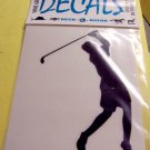 Female Golfer Vinyl Decal White Large