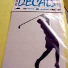 Female Golfer Vinyl Decal White Small