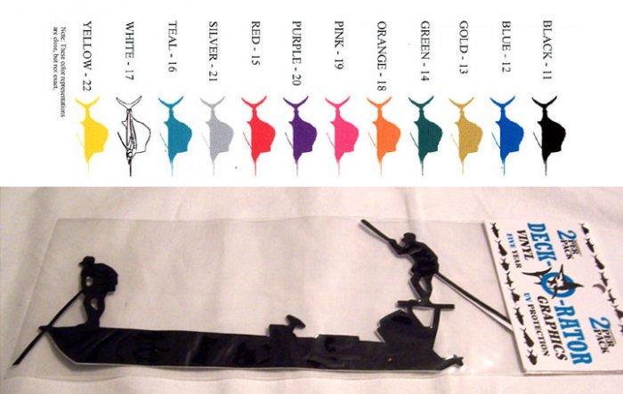 Flat Skiff Vinyl Decal 2 Pack Blue