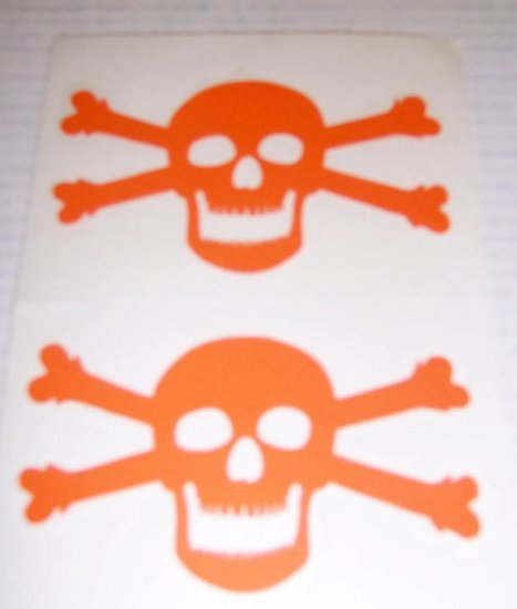 Jolly Roger Vinyl Decal 2 pack Small - Orange