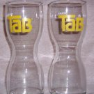 "Pair of vintage """"Enjoy Tab"""" Hourglass 12oz Glasses"