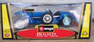 """Bburago 1934 Bugatti """"""""Type 59"""""""" Blue 1:18 Diecast New in Box"""