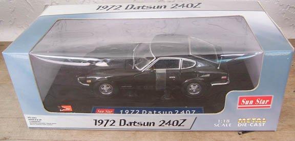 Sun Star 1972 Black Datsun 240Z NEW 1:18