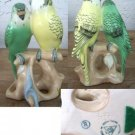 Rare Royal Dux yellow & green Parakeets Birds