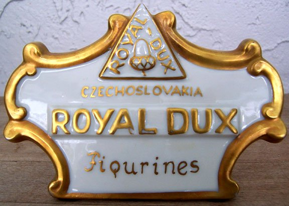 Royal Dux Figurines Store Display Sign Excellent Condition