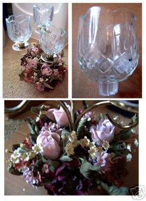 Candle holder with 3 clear glass votives & flower ring