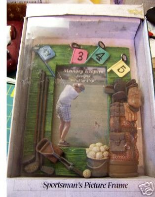 Sportsman's Painted Ceramic Picture Frame Golf - NEW