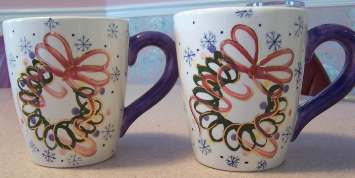 2 Large Hand Painted Winter/Holiday Coffee Mugs