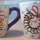 2 Large Hand Painted Winter/Holiday Coffee Mugs