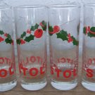 Set of 4 tall Stoli holiday shot glasses