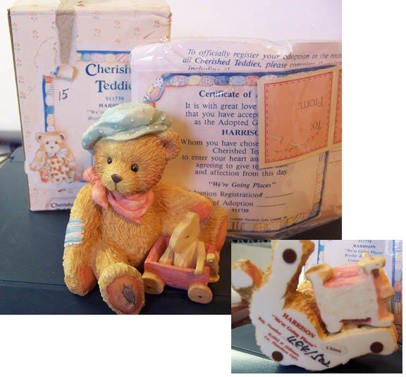 Cherished Teddies #911739 Harrison w/wagon glued