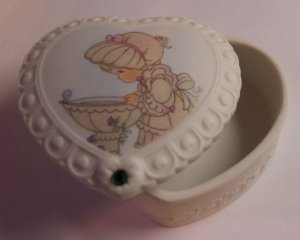 Precious Moments 1996 May Heart Shaped Trinket Box