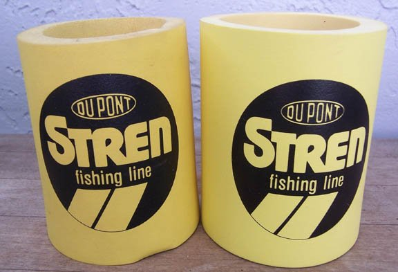 2 Du Pont Stren Fishing Line yellow can koozies