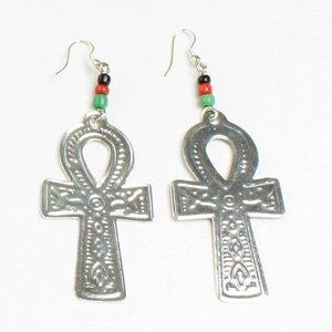 Ankh Earrings: Silver (E-103)