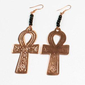 Ankh Earrings: Copper (E-103)