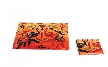 Wallet Set: Royal Elephants - Tan (C-A172:RE:Tan)