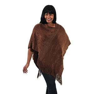 Plush Metallic Poncho: Brown (C-WF778:Brown)