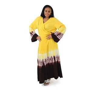 Tie Dye Wrap Dress: Yellow (C-WF801:Yellow)