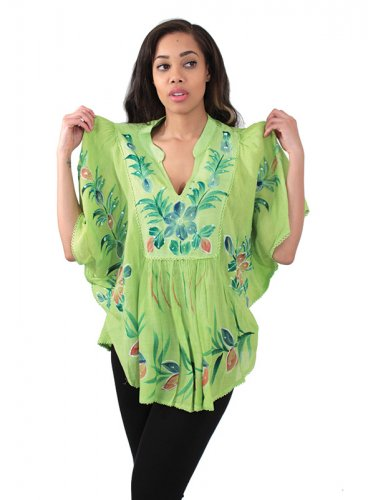 Painted Flower Dashiki (C-WS734) Lime