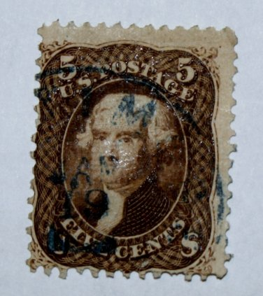 U.S. Cat. #76 1863 5 cent Jefferson, brown