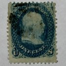 U.S. Cat. # 92 - 1867 1c Franklin, blue