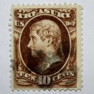 U.S. Cat. # O77 - 1873 10c brn, treasury, hard paper