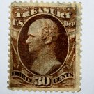 U.S. Cat. # O81 - 1873 30c brn, treasury, hard paper
