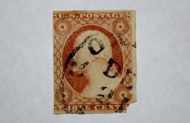 U.S. Cat. # 11 - 1855 3c dull red, T1, imperf