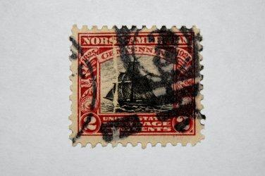 """U.S. Cat. # 620 -1925 2c Sloop """"Restaurationen"""""""