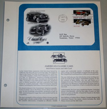 1988 First Day of Issue - Classic Cars (2)