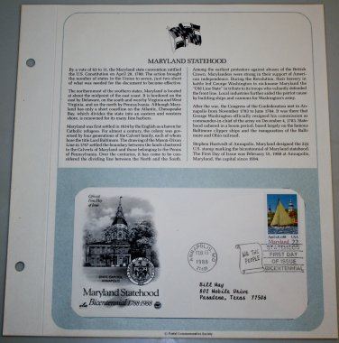 1988 First Day of Issue - Maryland Statehood