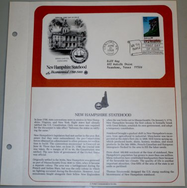 1988 First Day of Issue - New Hampshire Statehood