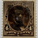 U.S. Cat. # 222 - 1890 4c Lincoln, dark brown