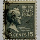 2-U.S. Cat. # 820 - 1938 Buchanan 15c light blue
