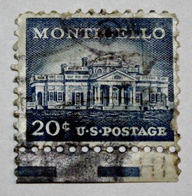 7-U.S. Cat. # 1047 - 1956 20c Monticello