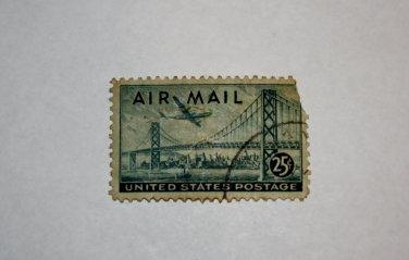 U.S. Cat. # C36 - 1946 25c Plane Over Bridge