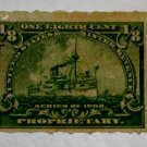 U.S. Cat. # RB20p Revenue Stamp - 1898 Battleship 1/8c yellow green, Hyphen Hole