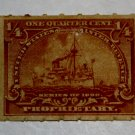 U.S. Cat. # RB21p Revenue Stamp - 1898 Battleship 1/4 c brown, Hyphen Hole