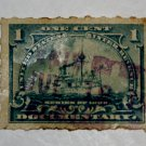 U.S. Cat. # RB24p Revenue Stamp - 1898 Battleship 1 c green, Hyphen Hole
