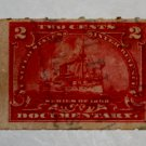 U.S. Cat. # RB27p Revenue Stamp - 1898 Battleship 2 c red, Hyphen Hole