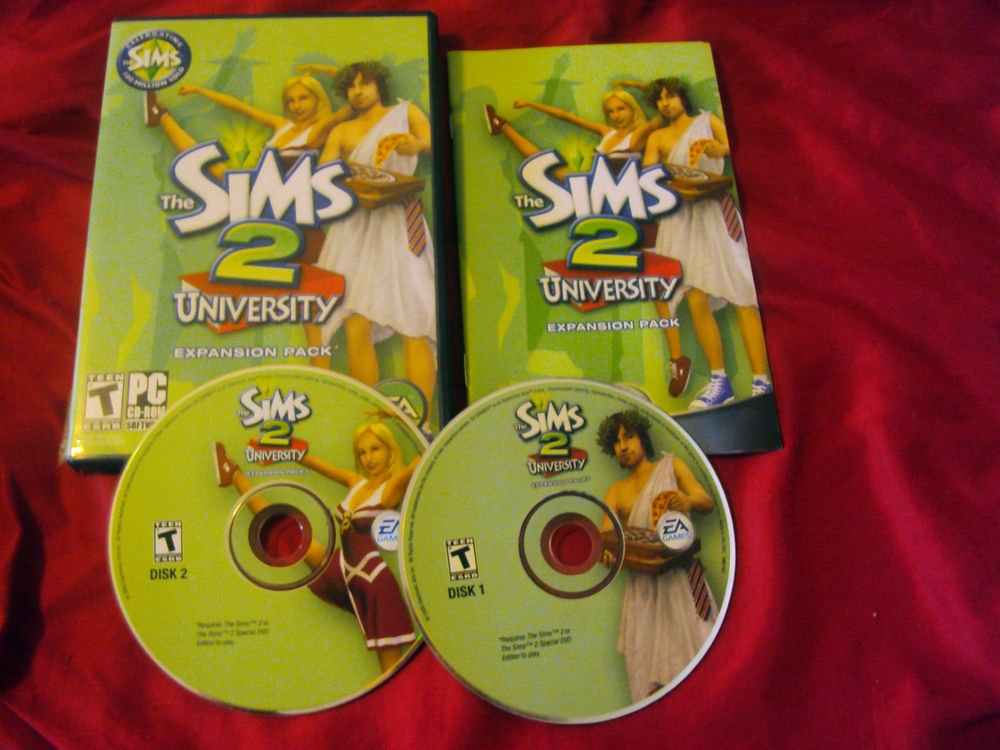 THE SIMS 2 UNIVERSITY PC DISCS MANUAL ART & CASE NRMNT TO MINT HAS CODE