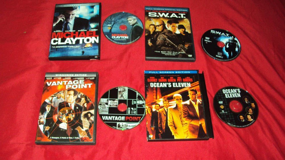 OCEAN'S ELEVEN + VANTAGE POINT + CLAYTON + S.W.A.T. DVD'S VERY GOOD TO NEAR MINT