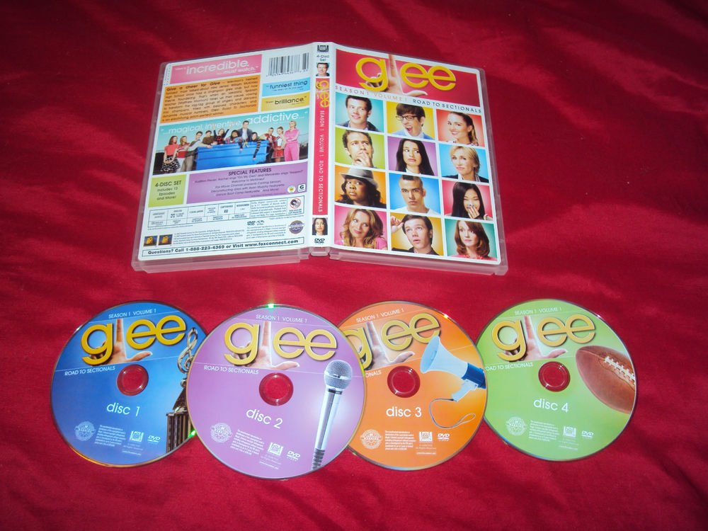 GLEE VOL. 1  SEASON 1 ROAD TO SECTIONALS 4 DVD DISCS CASE & ART NRMINT TO MINT