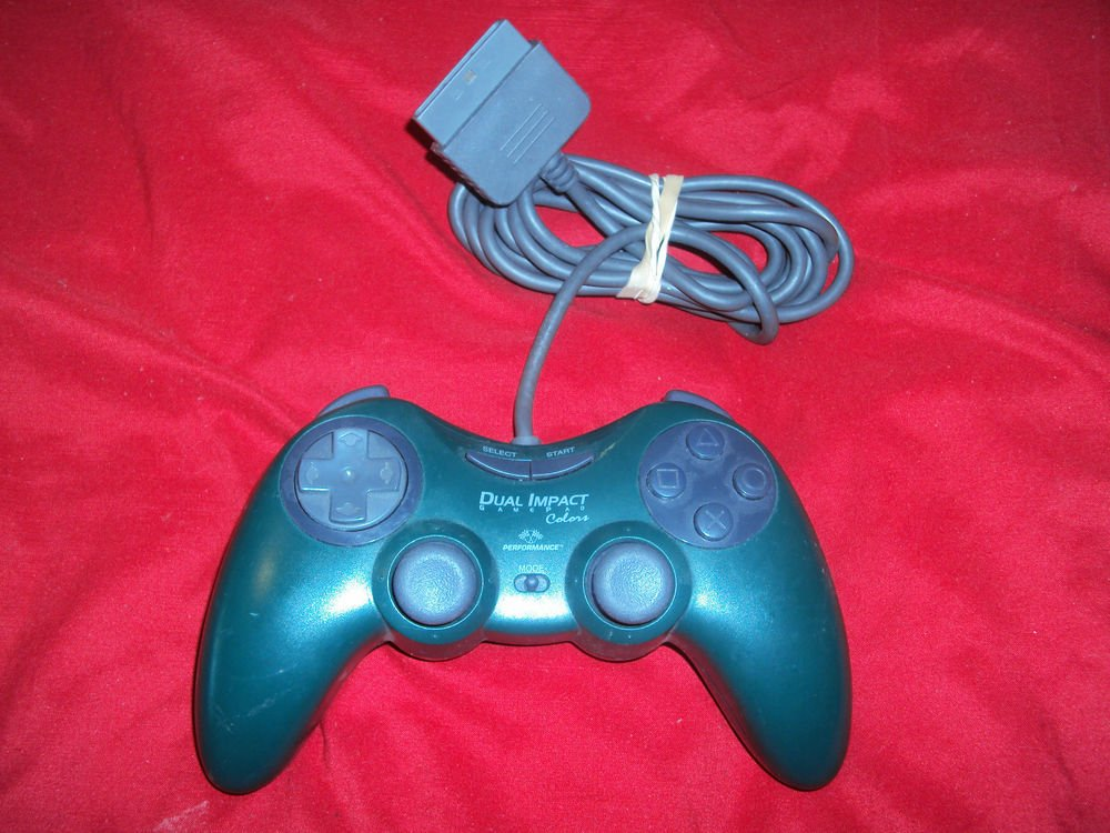 PLAYSTATION PS1 CONTROLLER Performance Dual Impact Colors P-117 VG CONDITION